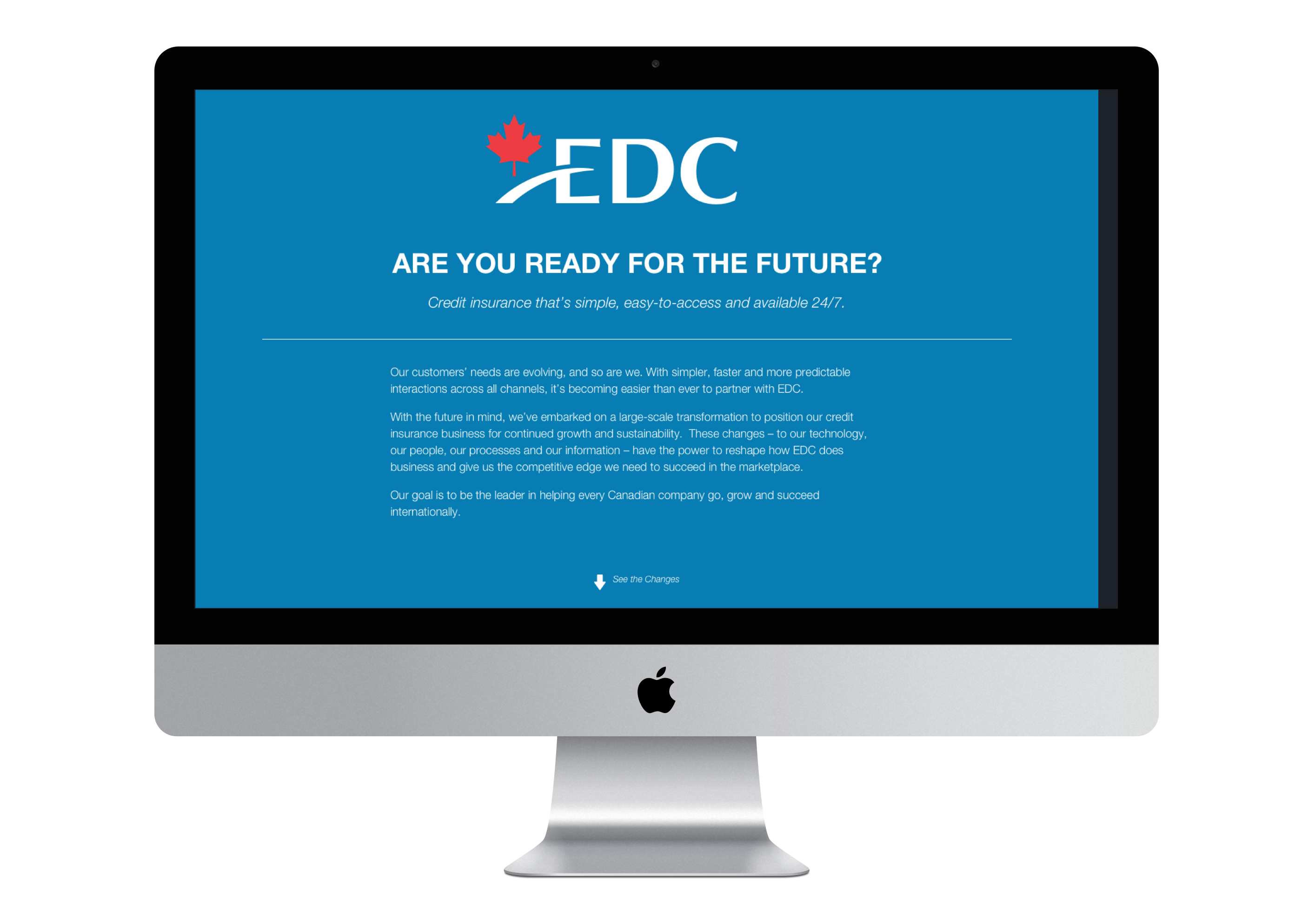 iMac with the top of EDC internal landing web page