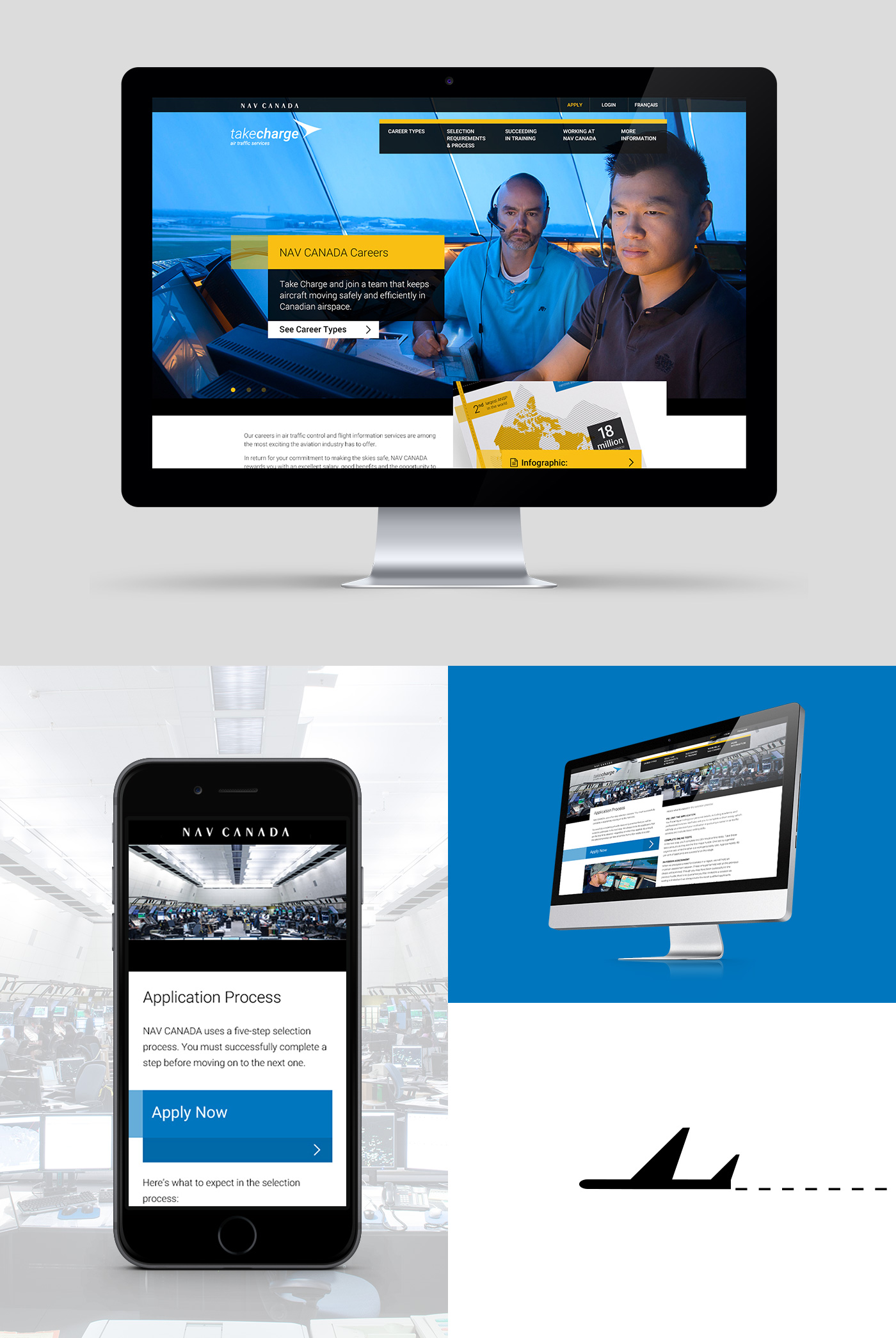Desktop version of home page and mobile version of inside pages of the NAV CANADA Website