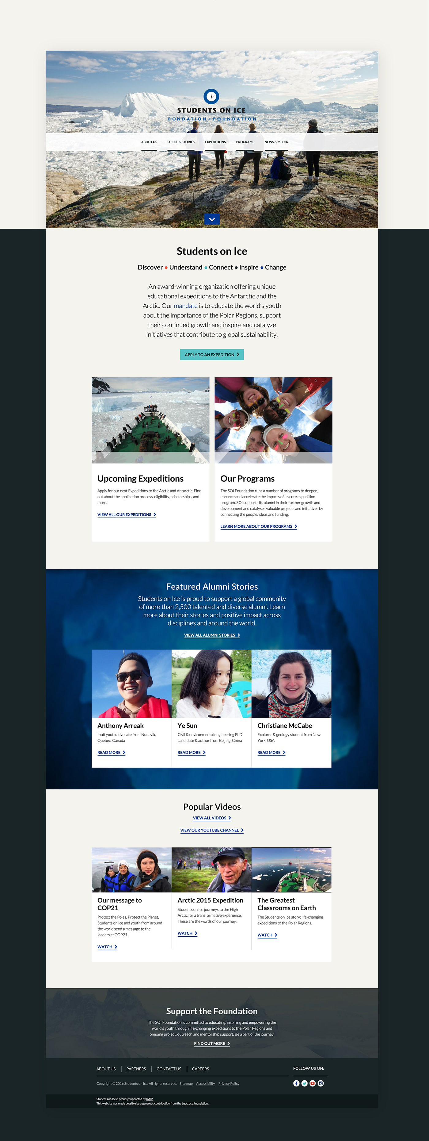 Students on Ice Foundation responsive website design