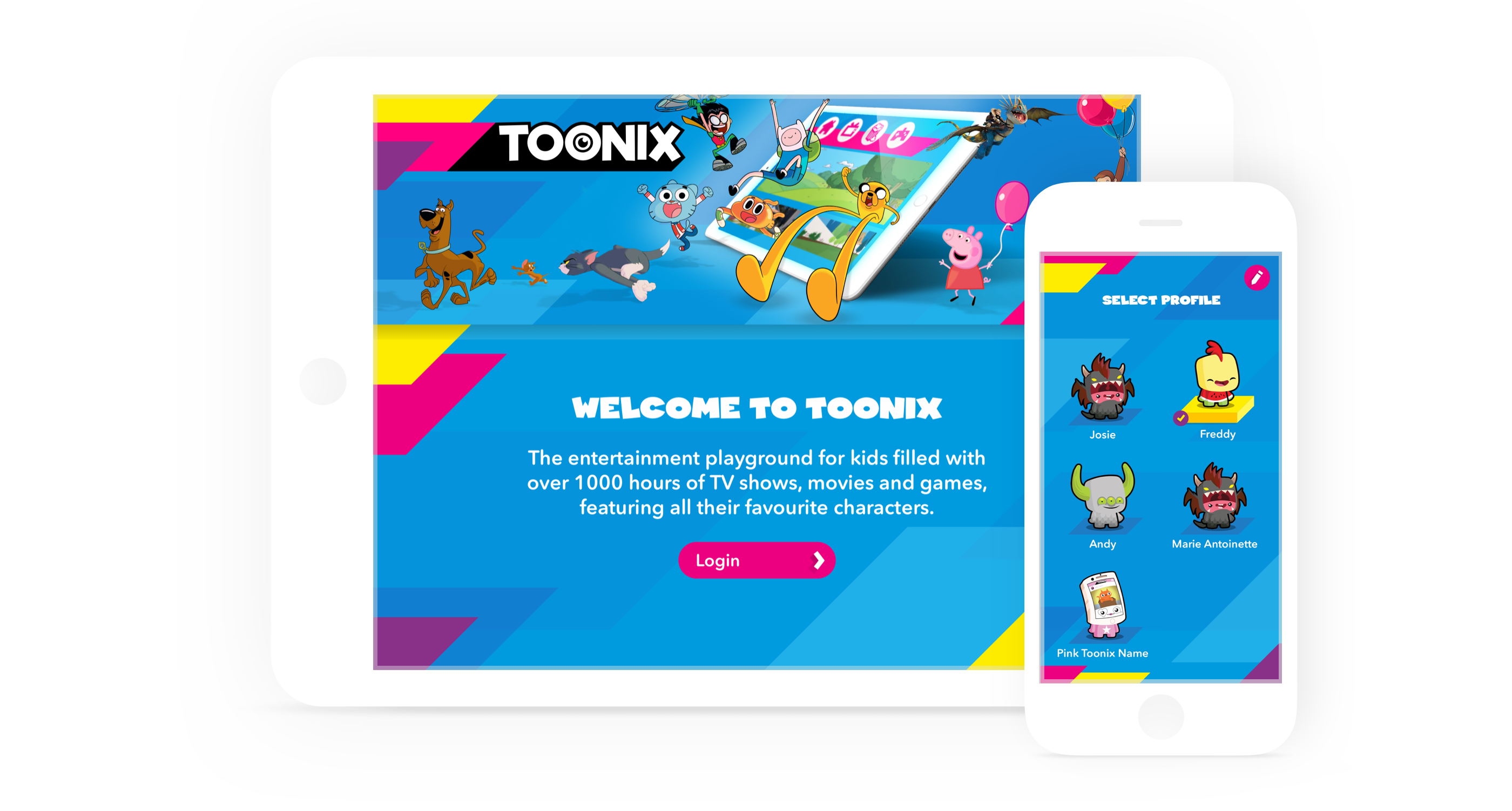 iPad and iPhone with Toonix welcome screen