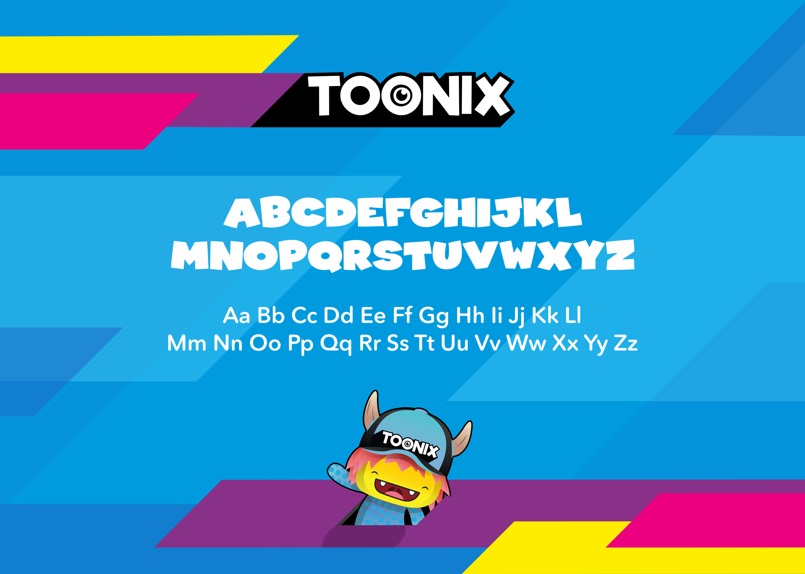 Toonix logo, fonts, colours and shards.