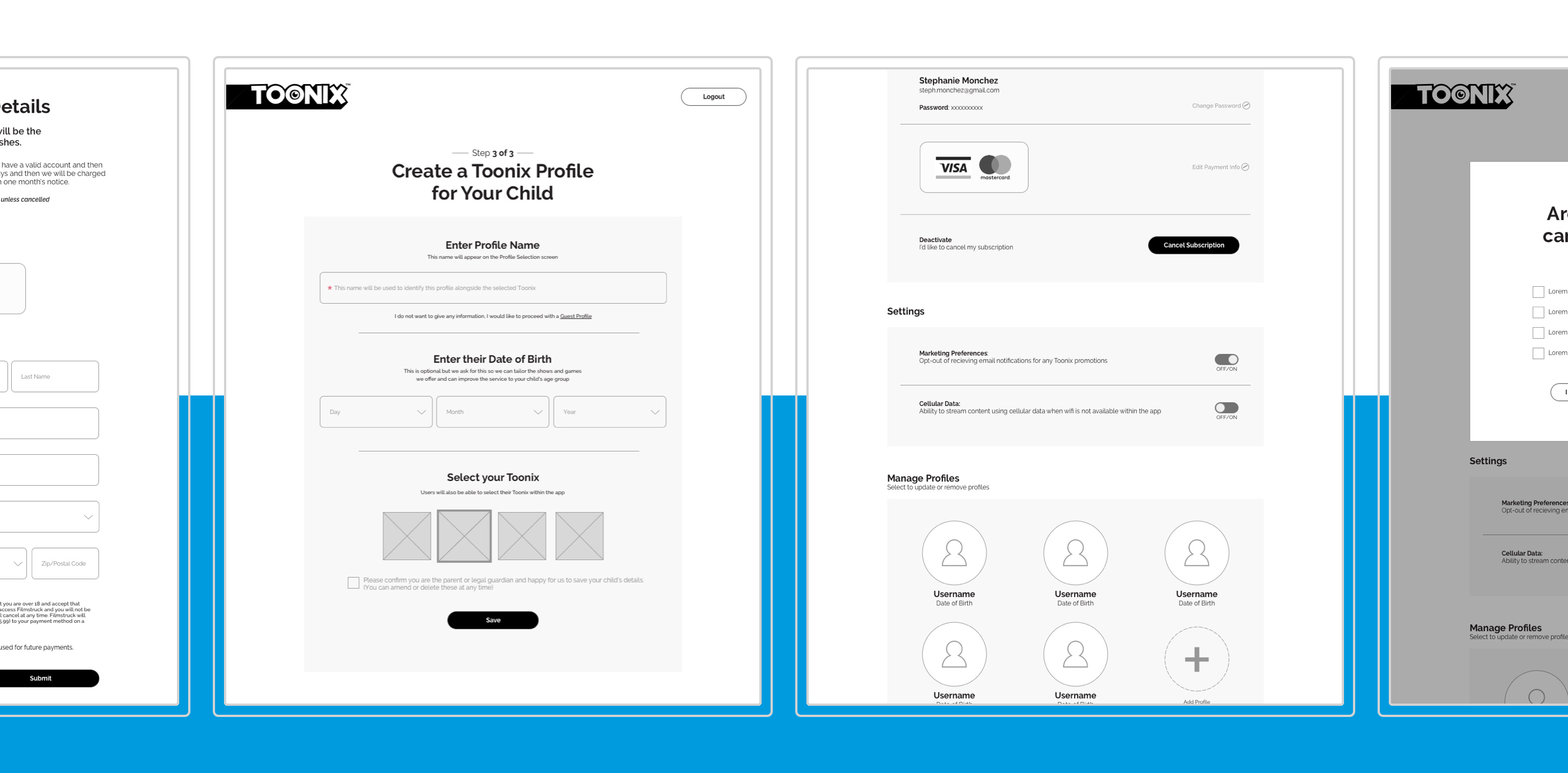 Four wireframe screens from the website